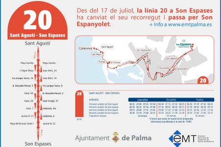 L'EMT modifica el recorregut de la línea 20 per enllaçar Son Espanyolet amb Son Espases